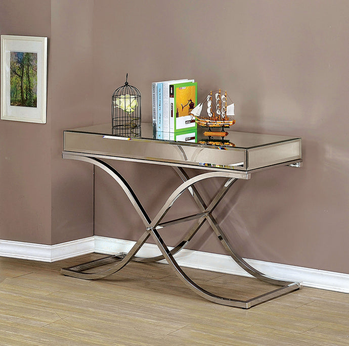 CM4230 Sofa Table - Sundance Modern Style Chrome X-Shape Frame Sofa Table
