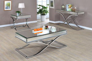 CM4230 Coffee Table - Sundance Modern Style Chrome Curved X-Shape Frame Coffee Table