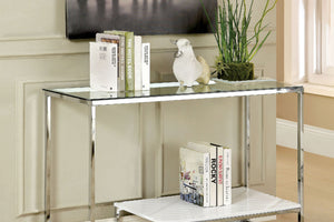 CM4231 Sofa Table - Vendi Modern Style Chrome and White Table Base Sofa Table
