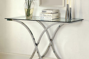 CM4233 Sofa Table - Luxa Modern Style - X Design Chrome Base Sofa Table