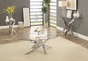CM4241 Coffee Table - Laila Chrome Finish Contemporary Style Coffee Table