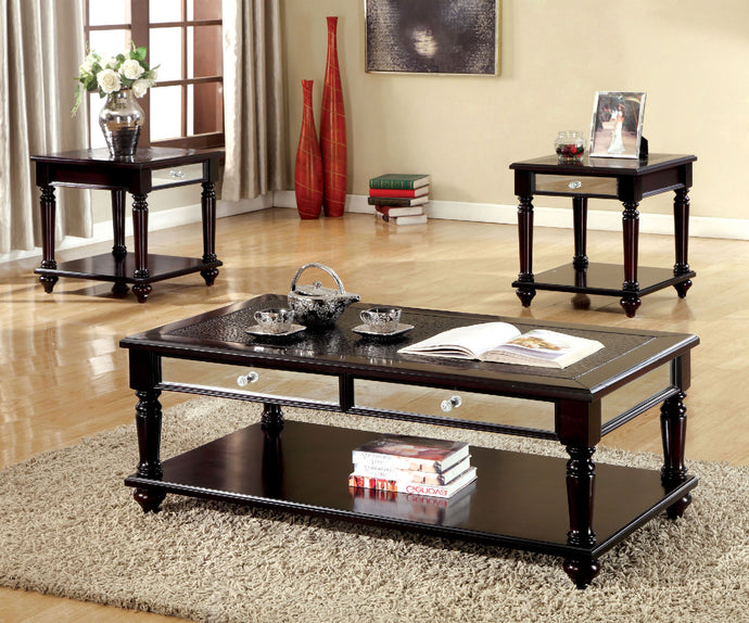 CM4242 Coffee Table Set - Horace Crocodile Leatherette Top Espresso Finish 3-Piece Coffee Table Set