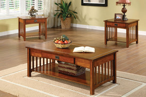 CM4245 Coffee Table Set - Seville Antique Oak Finish Mission Style 3-Piece Coffee Table Set