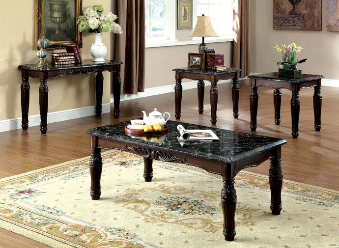CM4292EX Coffee Table Set - Brampton Faux Marble Top Dark Walnut Finish Traditional Style 3-Piece Coffee Table Set