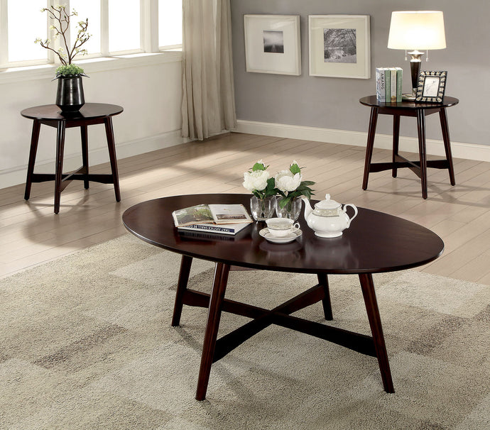 CM4303 Coffee Table Set - Selah Brown Cherry Finish Mid-Century Modern Style 3-Piece Coffee Table Set