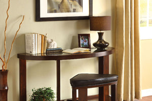 CM4321 Sofa Table - Crystal Cove Dark Walnut Finish Contemporary Style Sofa Table with Stool
