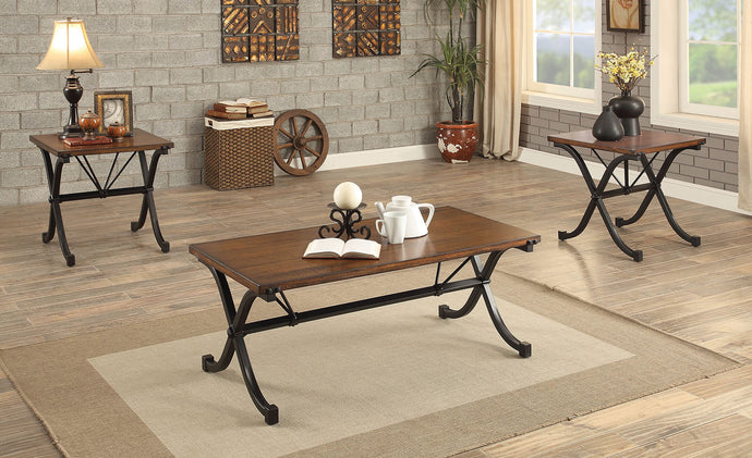 CM4322 Coffee Table Set - Sabine Dark Oak Finish Traditional Style 3-Piece Coffee Table Set