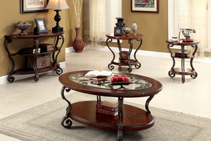CM4326 Coffee Table - May Transitional Style Brown Cherry Finish Ornate Design Coffee Table