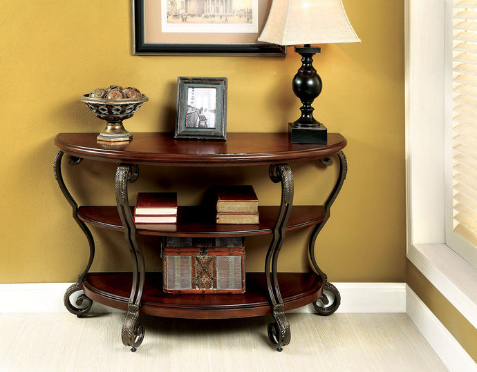 CM4326 Sofa Table - May Transitional Style Brown Cherry Finish Ornate Design Sofa Table