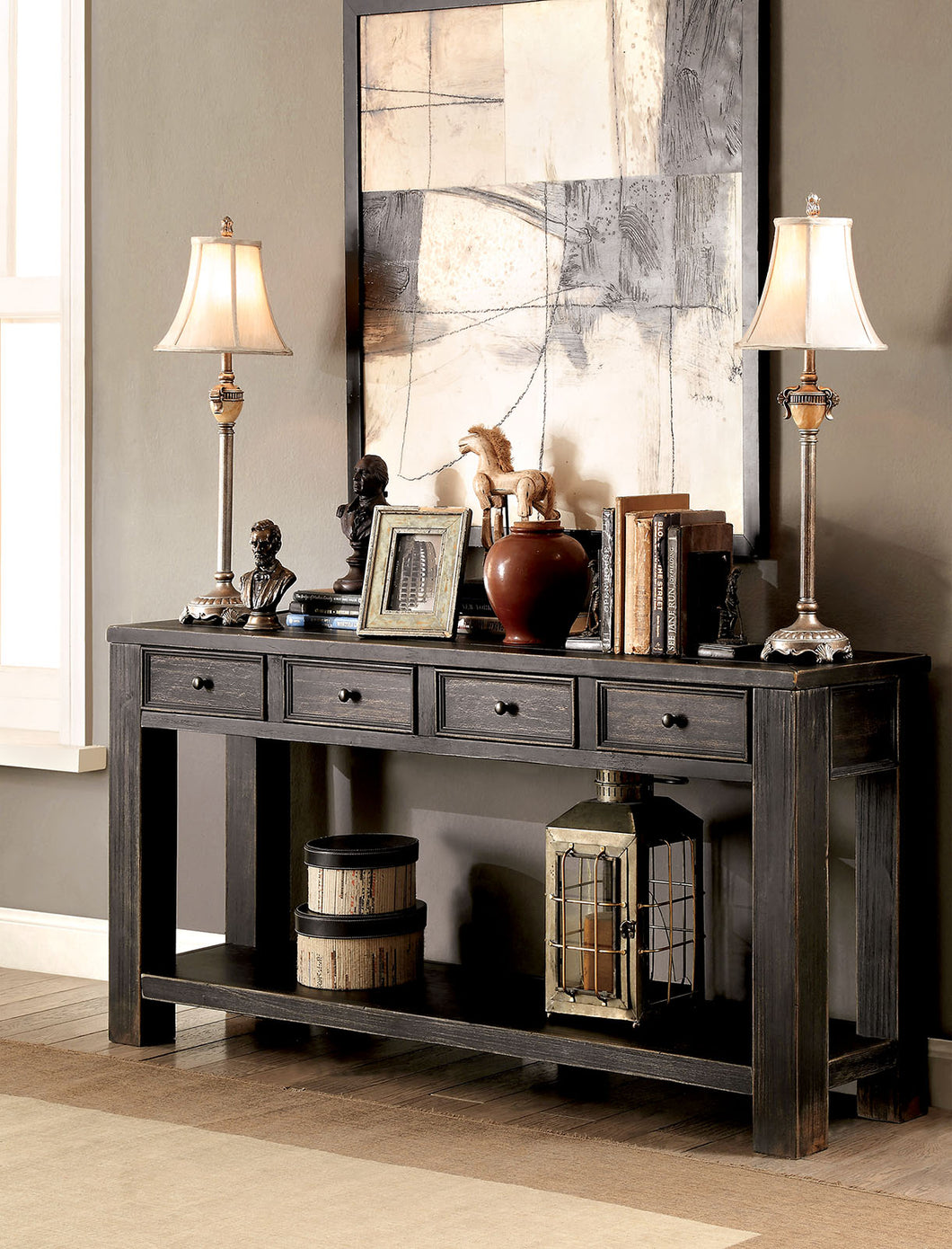 CM4327S - Meadow Antique Black Sofa Table