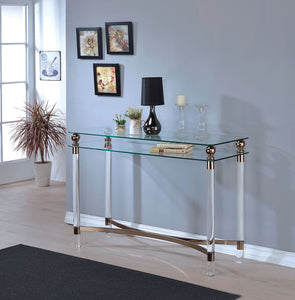 CM4352 Sofa Table - Castlebar Gold Finish Contemporary Style Sofa Table
