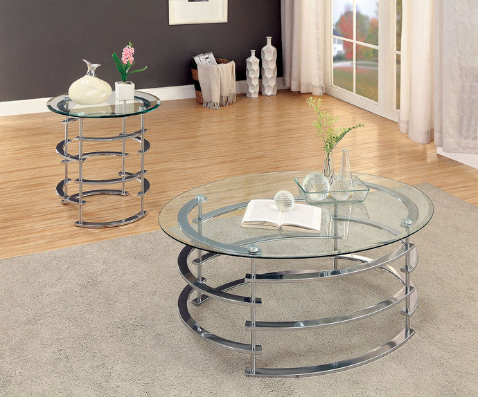 CM4359 Coffee Table - Clonmel Chrome Finish Contemporary Style Coffee Table