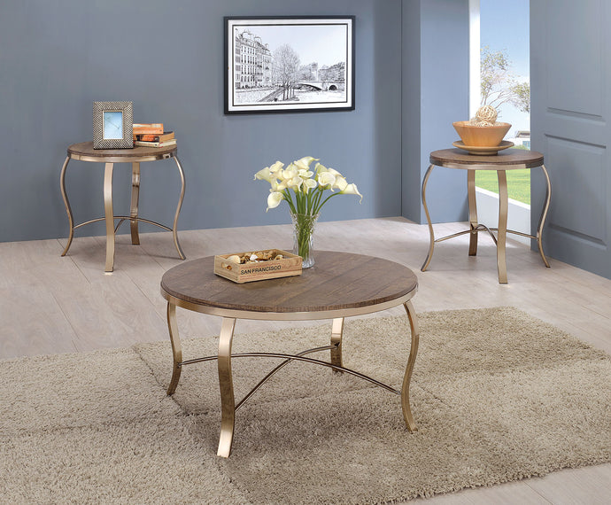 CM4364 Coffee Table Set - Wicklow Rustic Oak Finish Contemporary Style 3-Piece Coffee Table Set