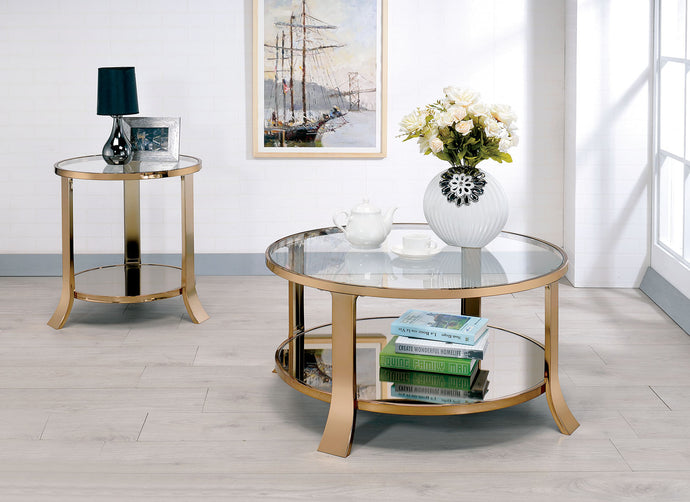 CM4371 Coffee Table - Rikki Champagne Finish Contemporary Style Coffee Table