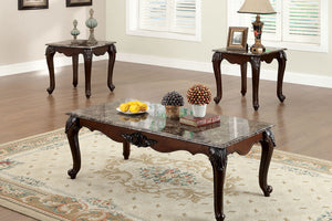 CM4423 Coffee Table Set - Colchester Faux Marble Top Dark Cherry Finish Traditional Style 3-Piece Coffee Table Set