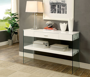 CM4451 Sofa Table - Raya White Finish Contemporary Style Sofa Table