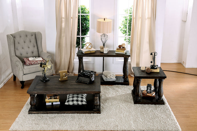 CM4455 Coffee Table - Keira Weathered Walnut Finish Transitional Style Solid Wood Top Coffee Table