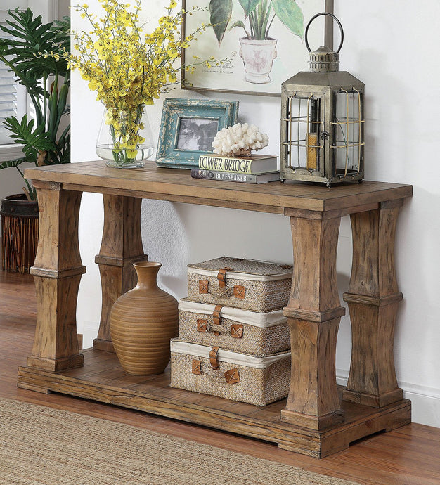 CM4457 Sofa Table - Granard Transitional Style Distressed Natural Tone Sofa Table