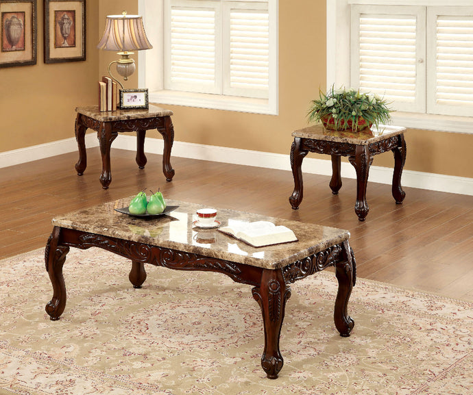 CM4487 Coffee Table Set - Lechester Faux Marble Top Ivory Finish Traditional Style 3-Piece Coffee Table Set