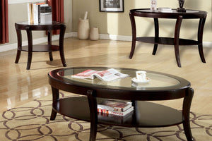 CM4488 Coffee Table - Finley Espresso Contemporary Style Oval Coffee Table