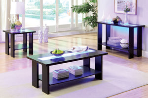 CM4559 Coffee Table - Luminar Espresso Finish Contemporary Style Coffee Table with LED Lights