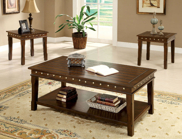 CM4630 Coffee Table Set - Fenwick Walnut Finish Transitional Style 3-Piece Coffee Table Set