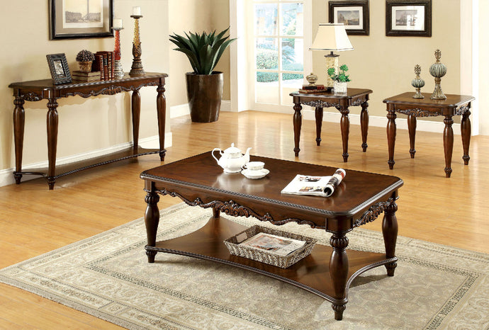 CM4915 Coffee Table Set - Bunbury Cherry Finish Traditional Style 3-Piece Coffee Table Set
