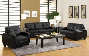 CM6485 Sofa - Blacksburg Contemporary Style Black Finish Leatherette Sofa