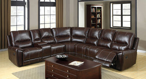 CM6559 Home Theater Sectional - Keystone Transitional Bonded Leather Home Theater 3-Recliners Sectional
