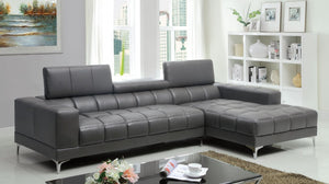 CM6669GY Sectional - Bourdet Grey Finish Bonded Leather Modern Sectional Sofa