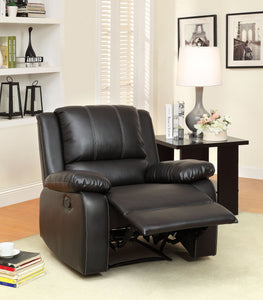 CM-6826CH Recliner Chair - Gaffey Black Finish Bonded Leather Match Recliner