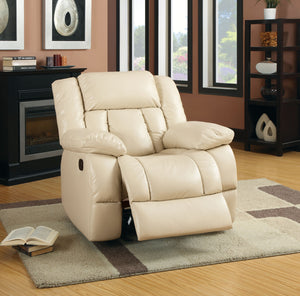 CM-6827CH Glider Recliner Chair - Barbado Bonded Leather Ivory Finish Glider Recliner