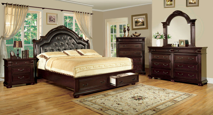 CM7162 - Scottsdale Brown Cherry Queen Storage Platform Bed