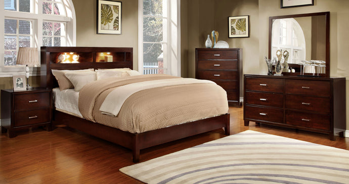 CM7290CH-Q - Gerico Brown Cherry Queen Platform Bed