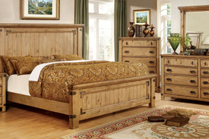 CM7449 Pioneer Country Style Weathered Elm Finish Platform Queen Bed