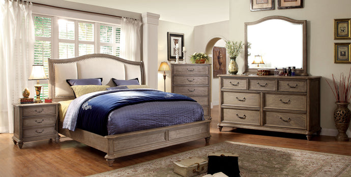 CM7612 Hanover II Transitional Style Rustic Natural Tone Finish Platform Queen Bed
