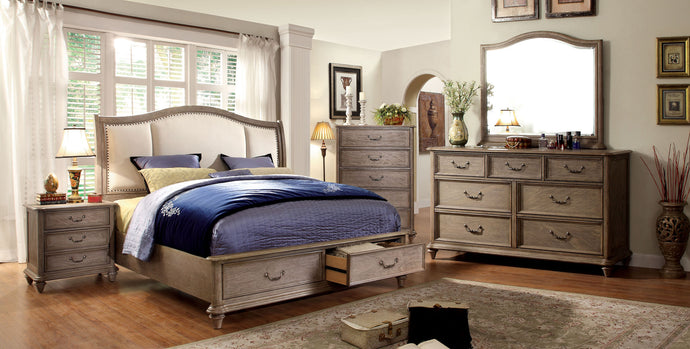 CM7614 Hanover Transitional Style Rustic Natural Tone Finish Platform Queen Bed