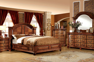 CM7738 Bellagrand Traditional Style Antique Tobacco Oak Finish Queen Bed