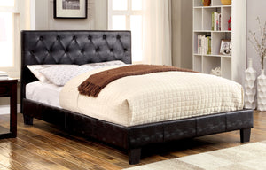 CM7795 Kodell Contemporary Style Crocodile Skin Leatherette Black Finish Queen Bed