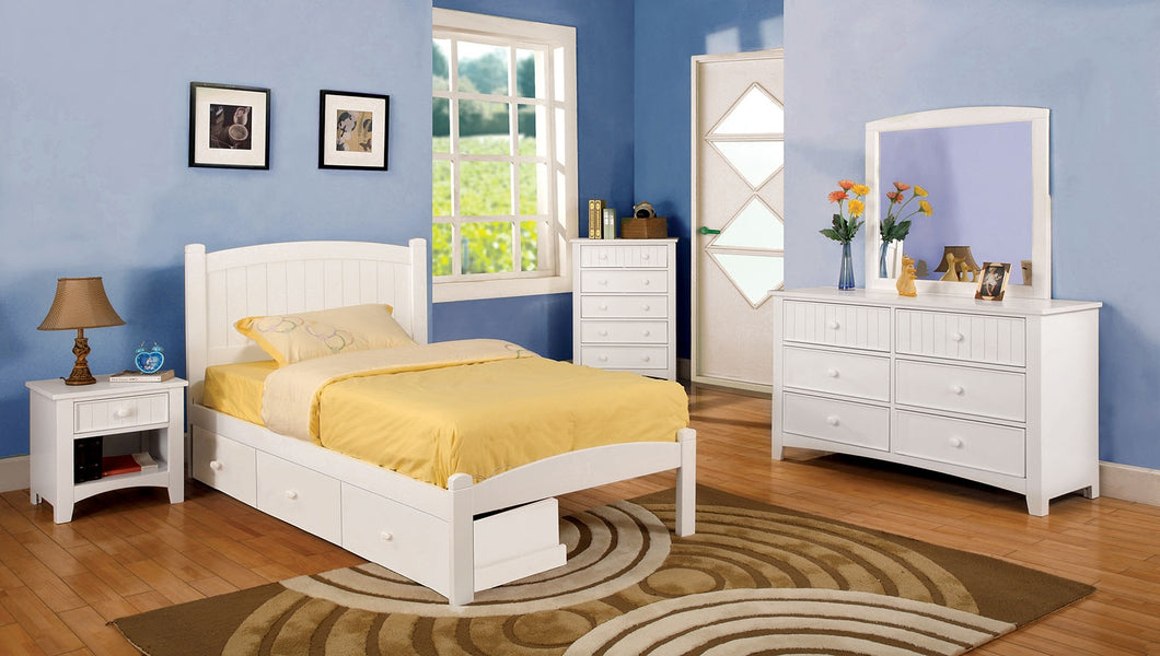 CM7902WH - Caren White Twin Bed - Available in Full Bed
