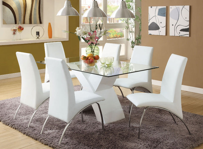 Dining Table CM8370WH-T - Wailoa White Dining Table with 6 White Chairs