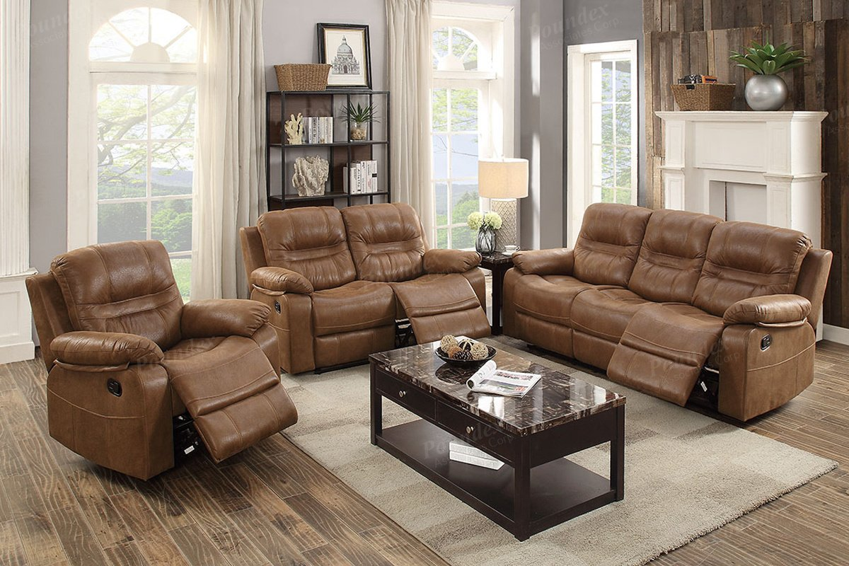 F6647 - Dark Brown Recliner Sofa
