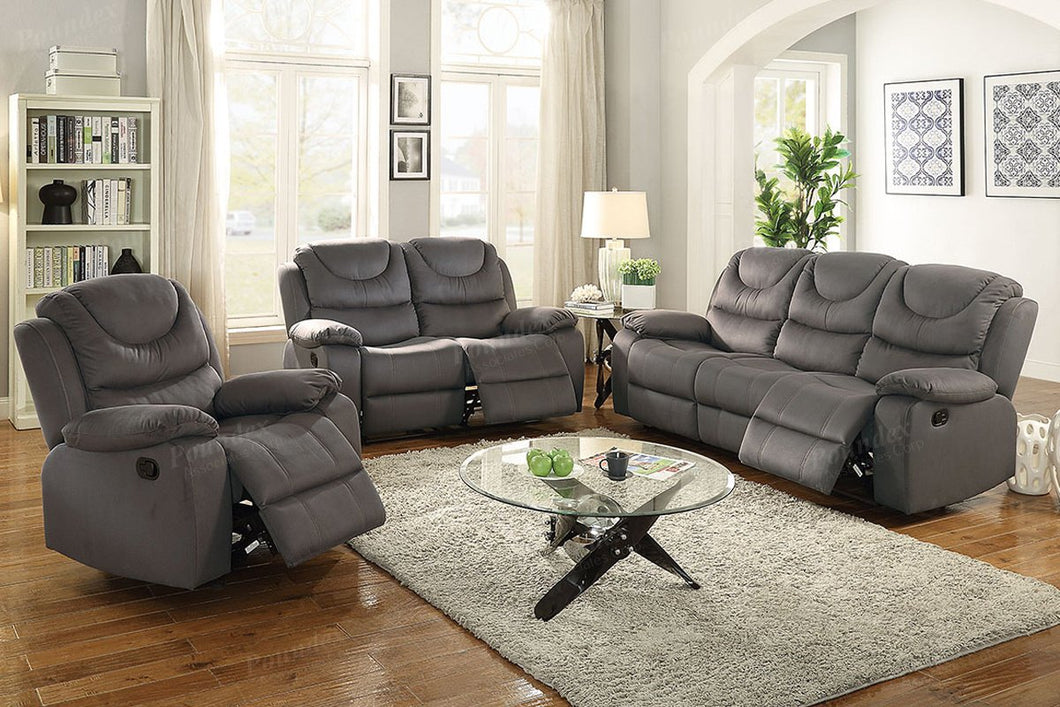 F6763 - Slate Blue Recliner Sofa