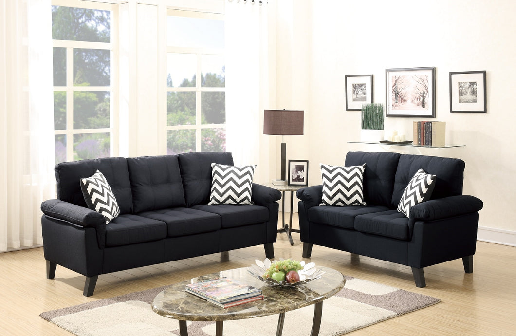 F6900 - Patrick Black Sofa and Loveseat