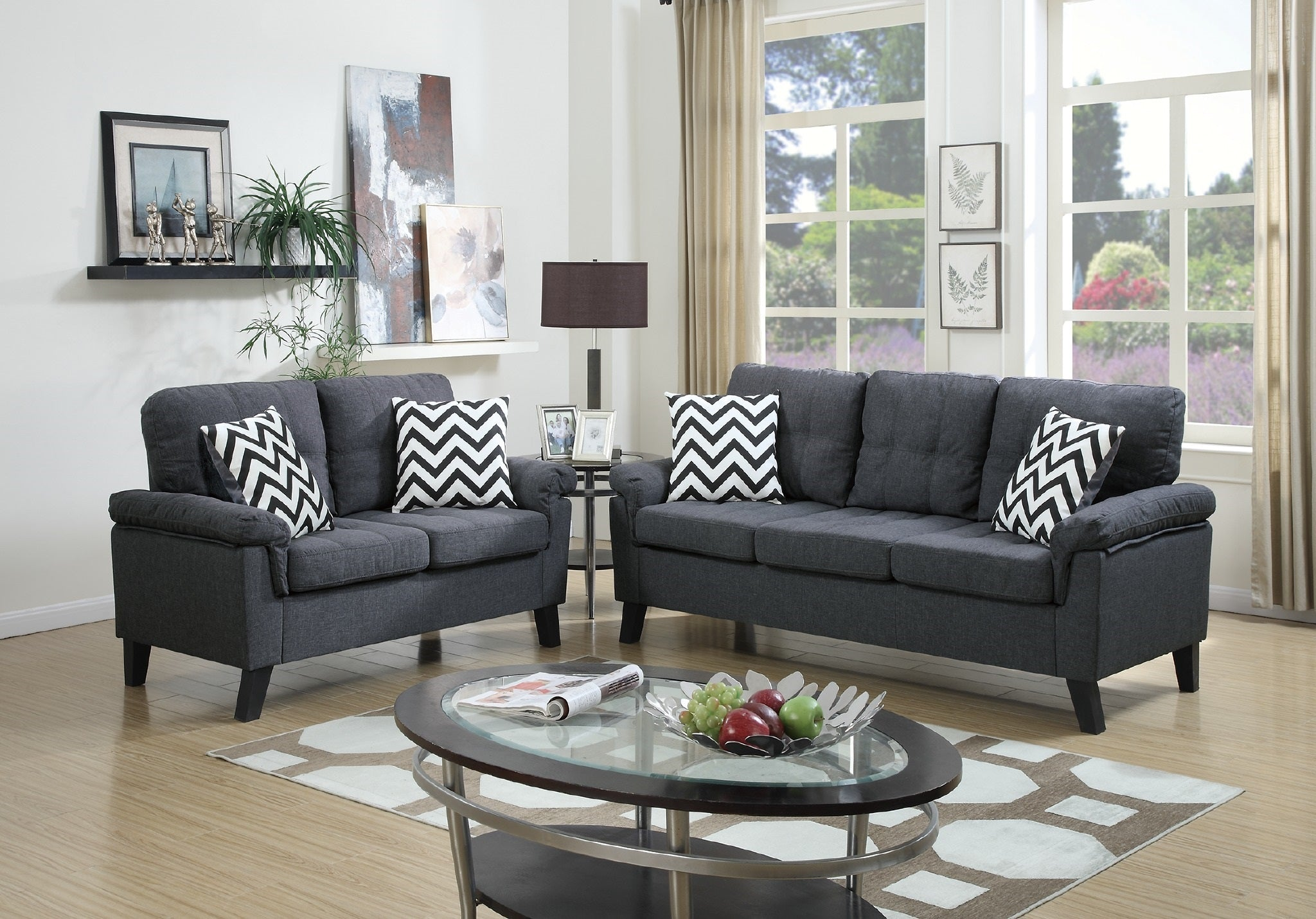 Outstanding F6905 Patrick Blue Grey Sofa And Loveseat La Discount Interior Design Ideas Clesiryabchikinfo