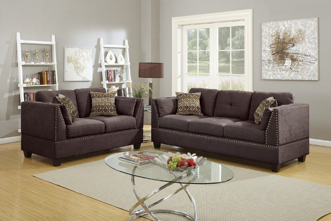 F6917 - Nicole 2-PCs Dark Brown Sofa and Loveseat