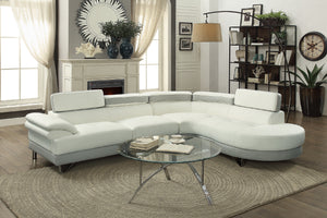 F6967 - Dominic White/Grey Sectional Sofa