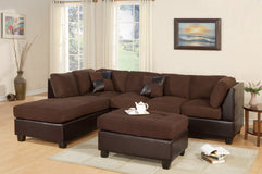 F7615 - Kane Chocolate Reversible Sectional with Ottoman