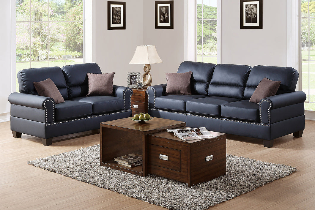 F7877 - Travis 2-PCs Black Sofa and Loveseat