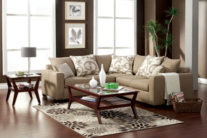 SM3016 Sectional Sofa - Brook Transitional Style Sand Stone Finish Sectional MADE IN USA